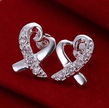 Hearts Rhinestone Heart Shaped Stud Earrrings for Pierced Ears Silver Toned