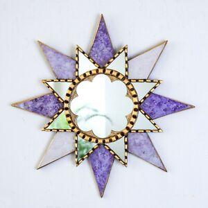 "Purple sunburst Wall Mirror 17.7"", Peruvian Accent golden Mirror Wall decorative"