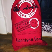 Personalised Santa sack RED canvas cotton LARGE CHRISTMAS BAG PRINTED NAME