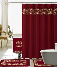 black and red shower curtain set. 18 Piece Lilian Embroidery Banded Shower Curtain Bath Set  Burgundy Sets eBay