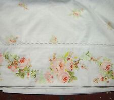 """VINTAGE SHABBY PINK ROSES ON WHITE PERCALE FULL FLAT SHEET 81""""X104 2 PILLOWCASES"""