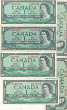 6 X 1954 $1 note Beattie Rasminsky  in VF