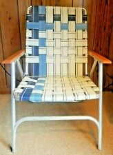 Vintage Aluminum Folding Lawn Chair Webbed Wood Arm Rests Blue White Large Adult