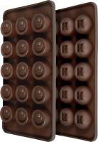 2er Set Pralinenform Silikon - Rund/Eckig - Silikon Schokoladenform / Eiswürfel