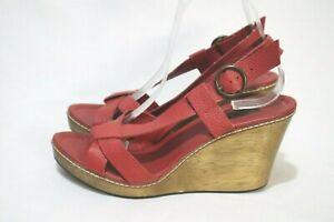 Made in Brazil ZARA Retro Size 8 Womens Warm Red Open Toe WoodUnit Wedge