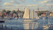 Wallpaper Border New England Harbor Sailing Ships and Boats, Oil Painting Look