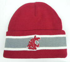 WASHINGTON STATE COUGARS STRIPED CUFFED NCAA SNOW KNIT BEANIE SKI CAP HAT NEW!