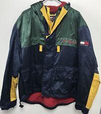 Vtg 90s Tommy Hilfiger Color Block Spellout Jacket Men's Sz M Navy Green Yellow