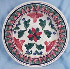 Antique Cut Sponge Bowl Red Green Blue Flowers Rice Dish Belgium Antique Big # 2