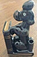 """Vintage Black Poodle Dog Porcelain Bookend With Pencil Holder Kitsch Japan 6.5"""""""