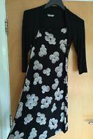 Ladies M&S Dress Size 8 Black White Attached Top Tandem Stretch Smart
