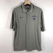 Nike Dri Fit Mens Medium M Golf Polo Shirt TREVECCA SOCCER Gray EUC