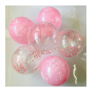 """12 Pack Pink """"It's A Girl"""" BABY Shower Latex Balloons Party Supplies Decor NEW"""