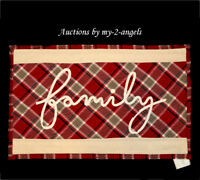 NEW Pottery Barn Christmas FAMILY SCRIPT Applique Lumbar Pillow Cover RED PLAID