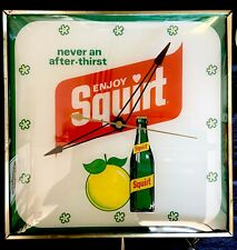 Stunning Squirt Soda Lighted Pam Clock Gas Oil Advertising Nice Colors!