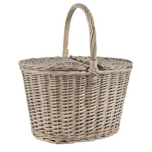 Willow Oval Picnic Basket With Lid by Ib Laursen