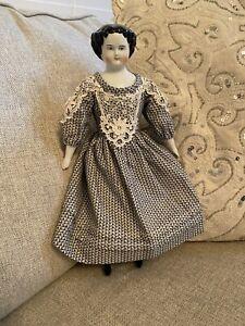 "12"" Antique German Kister High Brow Civil War Era China Doll Repro Body"