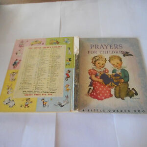 PRAYERS FOR CHILDREN 1 vintage 4sq Rachel Taff Dixon religion LITTLE GOLDEN BOOK