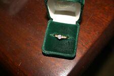 0.73 carat ROUND Brilliant Cut DIAMOND 18K Yellow Gold RING 6 Side Stones Sz 5.5