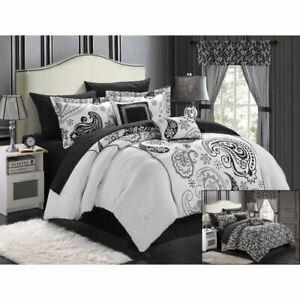 Black White Gray Grey Paisley 20pc Comforter Sheet Window Set Queen King Bed Bag