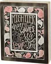 """WOOD BOX SIGN~""""Mightier Than The Waves Of The Sea Is Our Love...""""~Baby Boy~Pink"""