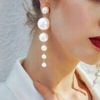 Women's Elegant Pearl Long Tassel Earrings Drop Dangle Ear Stud Wedding Jewelry