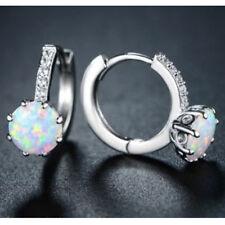 Noble 925 Sterling Silver Pink Fire Opal Drop Hoop Stud Earring Wedding Jewelry