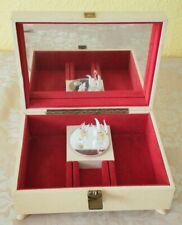 Vintage cream leather look Swan musical jewellery box Reuge Ste Croix Switzerlan