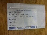 22/11/2003 Ticket: Rugby Union, Rotherham v Leicester  . Thanks for viewing our