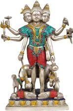 "JAi God Dattatreya As Shiva 12 "" Silver Hue Brass Stone Art Statue Figure 4.6 KG"