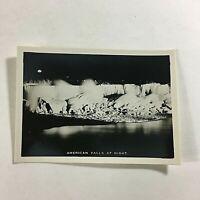 "VINTAGE 1940s Mini Photograph Souvenir 3.5X2"" Niagara America Falls At Night"