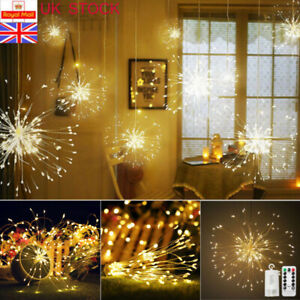 4X Firework LED Fairy String Lights Lamp Remote Control Christmas Xmas Decor UK