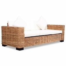 vidaXL 244419 3-seater Sofa With Cushion Natural Rattan Weather Resistant Lounge Seat