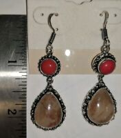 """Earrings Dangle Sterling Silver Wires Coral & Agate 2 1/4"""""""