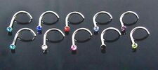 Nose Screw 2mm Colour Gem Crystal 20g Twisted Curved Piercing Bar Stud Ring 1pc