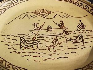 ANTIQUE PRIMITIVE REDWARE POTTERY SGRAFFITO SLIPWARE PLATTER AMERICAN FOLK ART