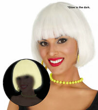 Halloween Glow in the Dark Bob Wig White UV Punk Gothic Fancy Dress Costume