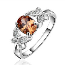 Silver Plated 925 Orange Topaz Oval Crystal CZ Engagement Ring Sizes  Q/8 & O/7