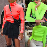 NEW Women Bodycon Fashion Solid Long Sleeve Turtle Neck T-Shirt Fit Blouse Tops