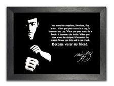 Cartel de Bruce Lee Negro Blanco cita American actor Kungfu Sport Water amigo