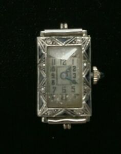 Helbros Vintage antique  Platinum & 18K Art Deco Lady Watch - Working / As is