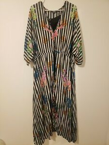 Tolani Dress Sz Collection Regular Striped Floral Lined Woven Maxi -Size XL