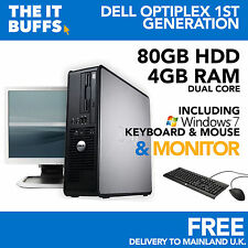 Dell OptiPlex - Dual Core 4gb RAM 80gb HDD PC de escritorio Windows 7 Ordenador