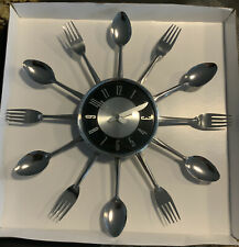 15 inch Large kitchen wall clock with spoons and forks Brand New