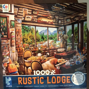 This Is A Good OnE! Rustic LODGE - FISHING MAP & GUIDE - 1000 PIECE JIGSAW