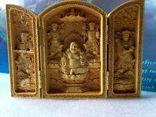 Oriental Vintage Boxwood Handwork Carved Buddha Statue Smiling Face Buddha
