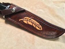 Custom Leather Sheath w/feather for Buck 120 Knife