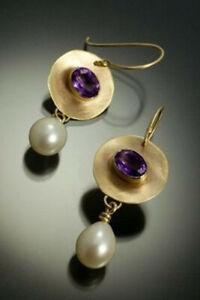 Boho 925 Silver Amethyst Pearl Earrings 18K Gold Filled Ear Hook Dangle Jewelry