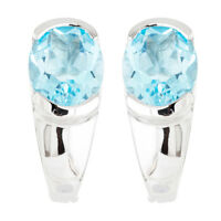 100% NATURAL+ 10X8MM SKY BLUE TOPAZ AFRICAN GEMSTONE STERLING SILVER 925 EARRING