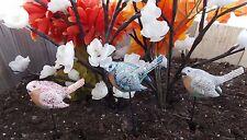 """Set Of 3 Enchanted Bird Stakes 10"""" Resin Garden Stake Owi # 38199"""
